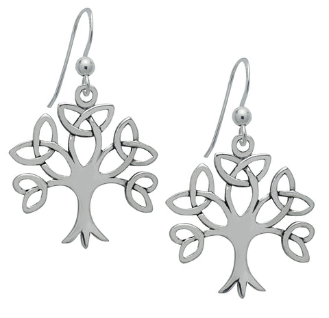 (Product Code: SS02) Silver Trinity Tree of Life Earrings, Symbology - EnchantedJewelry