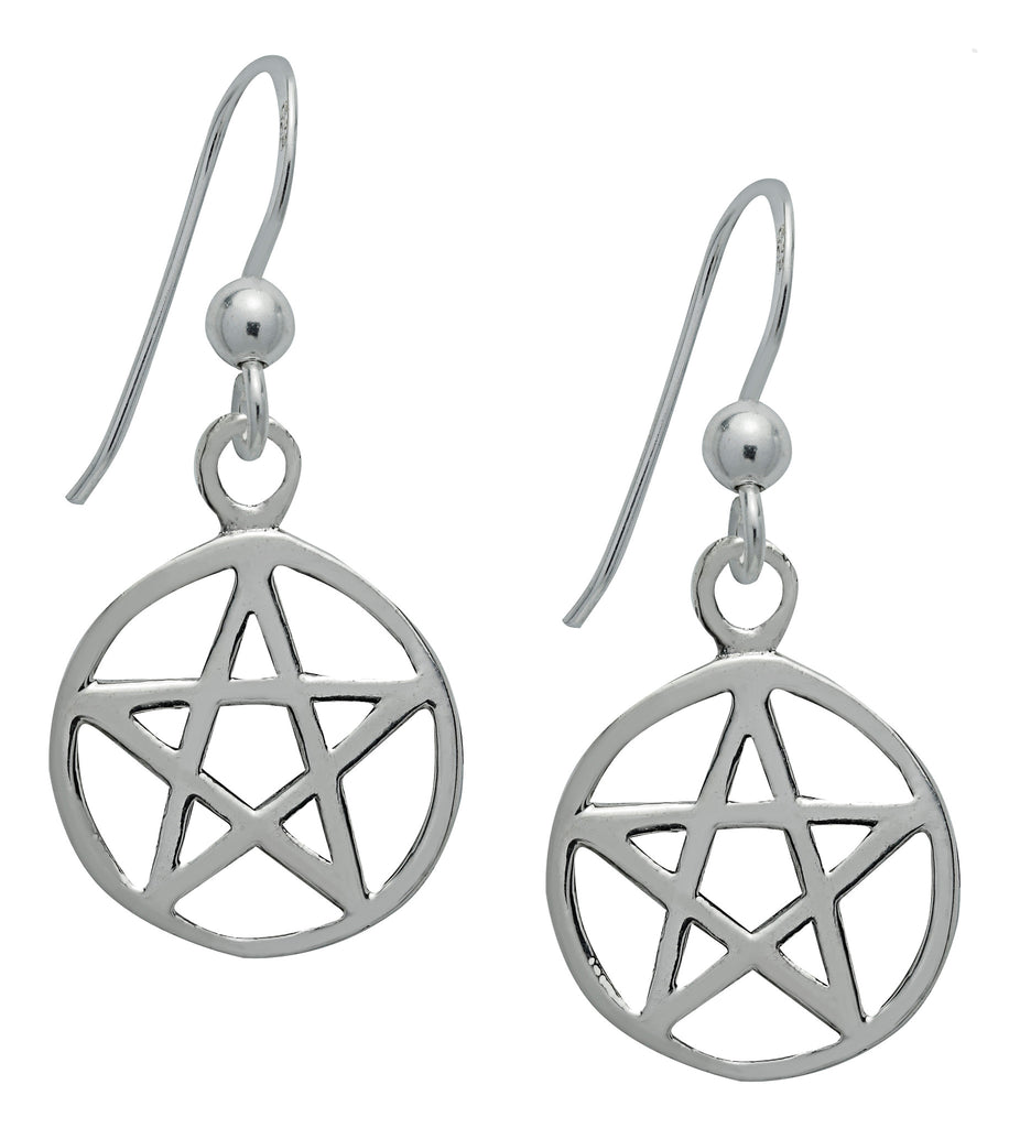 SS04 - Silver Pentacle Earrings for Protection Symbology at Enchanted Jewelry & Gifts