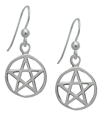 SS04-Silver Pentacle Earrings for Protection (Symbology) at Enchanted Jewelry & Gifts