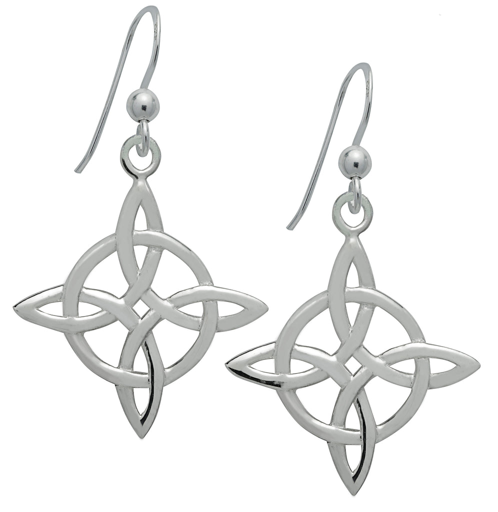 (Product Code: SS08) Silver Celtic Good Luck Earrings, Symbology - EnchantedJewelry