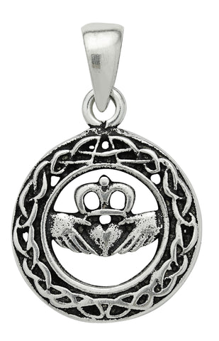 (Product Code: SS09) Silver Celtic Claddagh Pendant for Love & Loyalty, Symbology - EnchantedJewelry