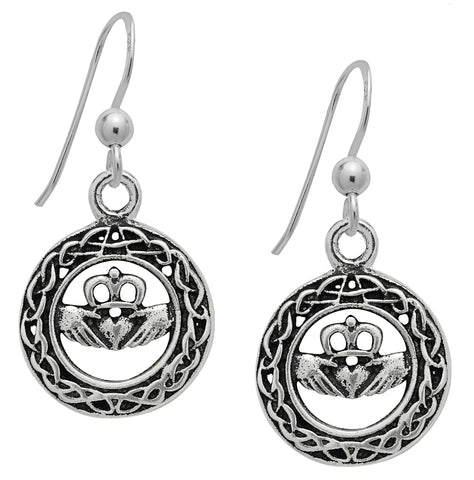 (Product Code: SS10) Silver Celtic Claddagh Earrings for Love & Loyalty, Symbology - EnchantedJewelry