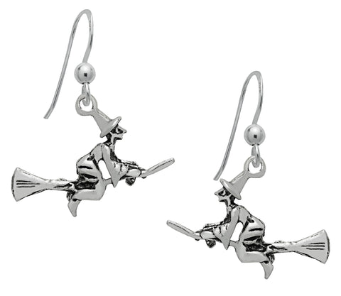 (Product Code: SS12) Silver Flying Witch Earrings, Symbology - EnchantedJewelry