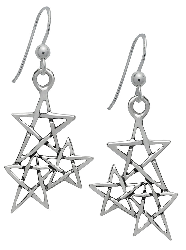 (Product Code: SS13) Silver Law of 3 Pentagram Earrings, Symbology - EnchantedJewelry