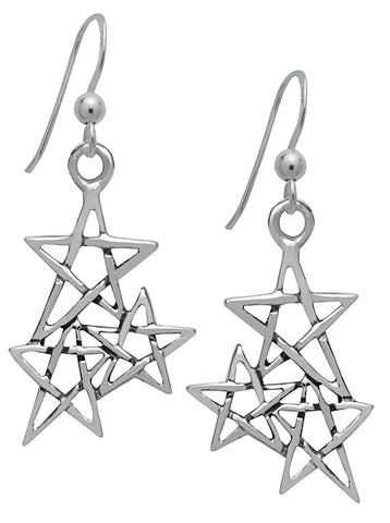 SS13 - Silver Law of 3 Pentagram Earrings Symbology at Enchanted Jewelry & Gifts
