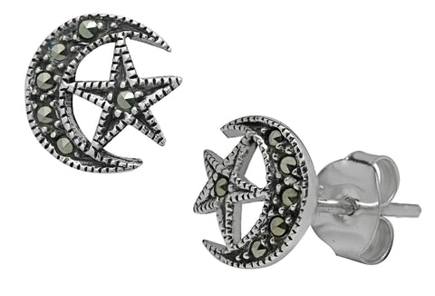 (Product Code: SS14) Moon & Star Marcasite Studs, Symbology - EnchantedJewelry