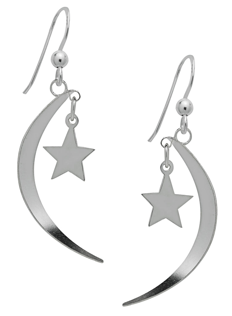 SS15-Silver Moon Star & Dangling Earrings (Symbology) at Enchanted Jewelry & Gifts