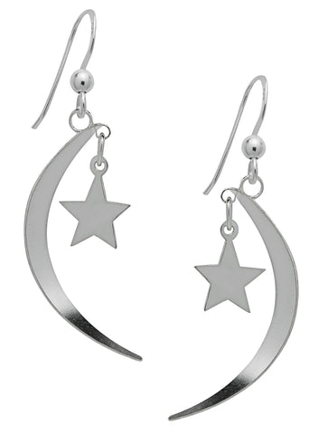 (Product Code: SS15) Silver Moon Star & Dangling Earrings, Symbology - EnchantedJewelry