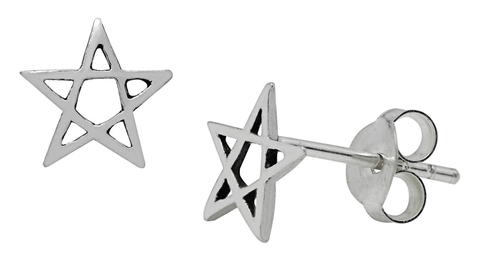 SS19-Silver Pentagram Stud Earrings (Symbology) at Enchanted Jewelry & Gifts
