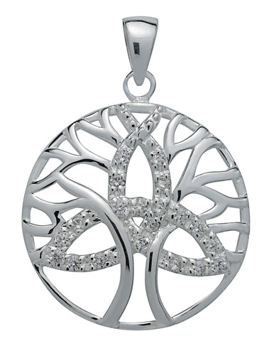 (Product Code: SS21) Brilliant Silver Trinity Tree of Life Pendant for Unity, Symbology - EnchantedJewelry