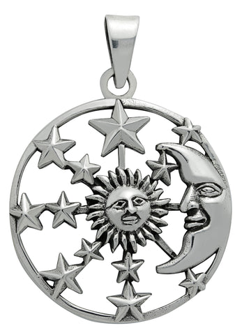 (Product Code: SS22) Silver Sun, Moon & Stars Pendant for Hope, Symbology - EnchantedJewelry