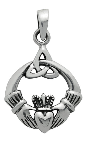 SS25 - Silver Trinity Claddagh Pendant Symbology at Enchanted Jewelry & Gifts