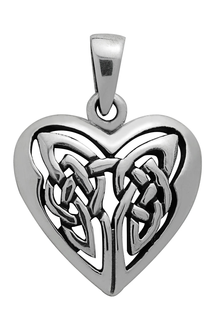 (Product Code: SS27) Silver Celtic Heart Pendant, Symbology - EnchantedJewelry