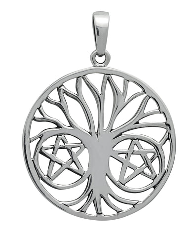 SS29-Silver Pentapha Tree of Life Pendant for Protection (Symbology) at Enchanted Jewelry & Gifts