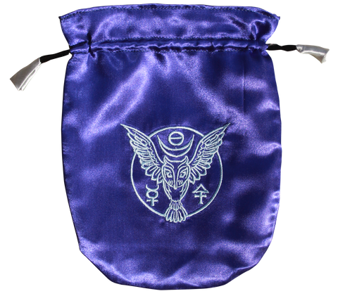 STB06 - Blue Satin Owl Tarot Bag (Tarot Bags) at Enchanted Jewelry & Gifts