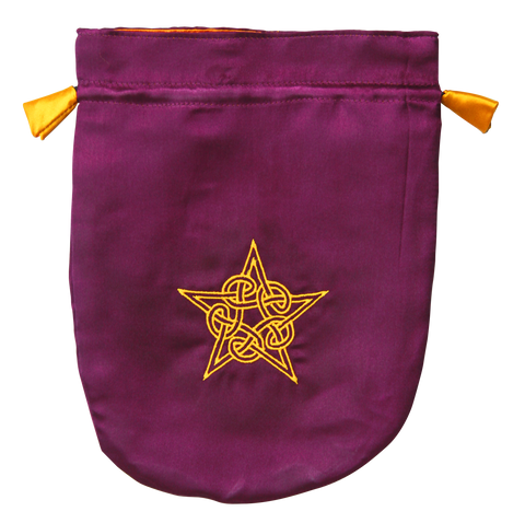 STB08 - Purple Satin Celtic Pentagram Tarot Bag (Tarot Bags)