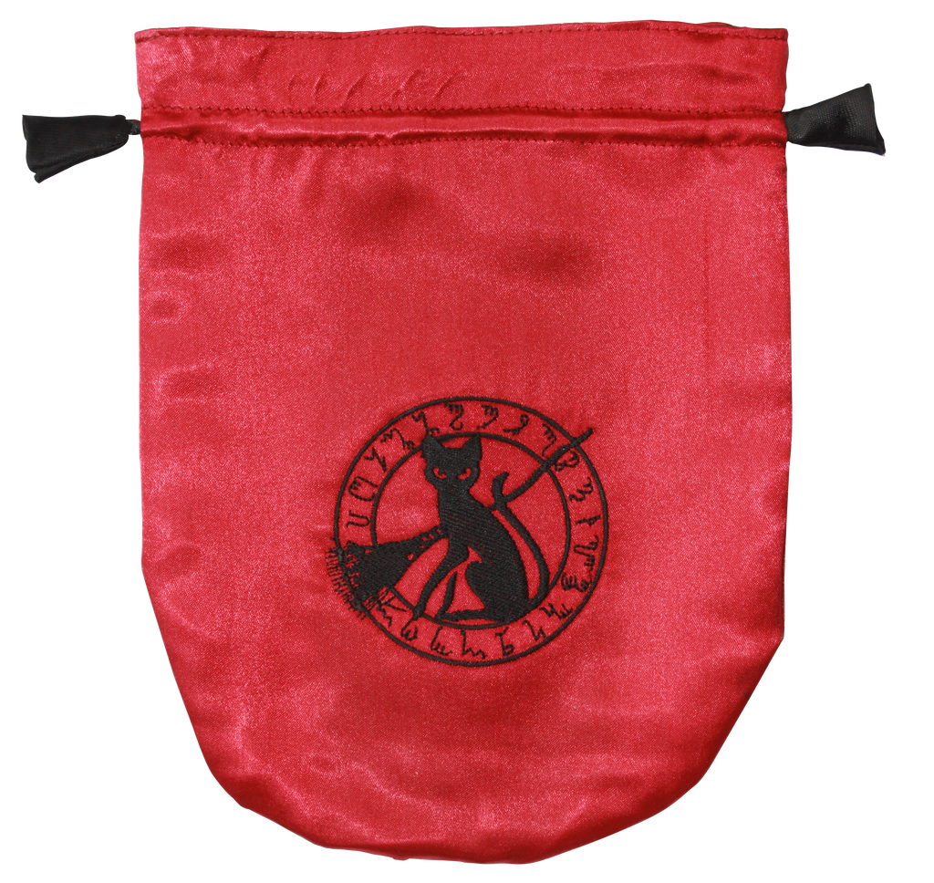 STB09 - Red Satin Black Cat Tarot Bag (Tarot Bags)