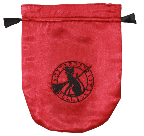 STB09 - Red Satin Black Cat Tarot Bag (Tarot Bags) at Enchanted Jewelry & Gifts
