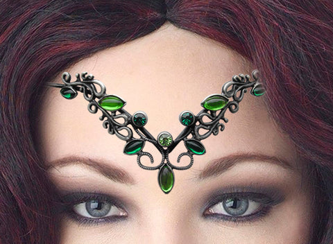 TIA04-Green Fortuna Diadem Tiara-Diadem Tiaras-Enchanted Jewelry & Gifts