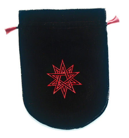 VTB01-Black Velvet Double Pentagram Tarot Bag-Tarot Bags-Enchanted Jewelry & Gifts
