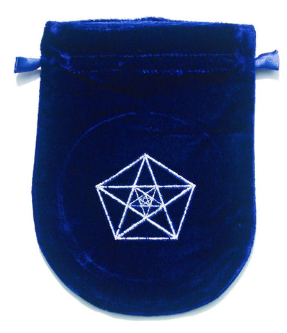 VTB03-Blue Velvet Triple Pentagram Tarot Bag-Tarot Bags-Enchanted Jewelry & Gifts