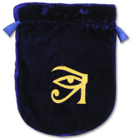 (Product Code: VTB05) Blue Velvet Eye of Horus Tarot Bag, Tarot Bags - EnchantedJewelry