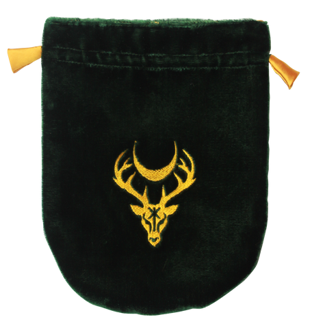 VTB07 - Green Velvet Moon Stag Tarot Bag (Tarot Bags) at Enchanted Jewelry & Gifts
