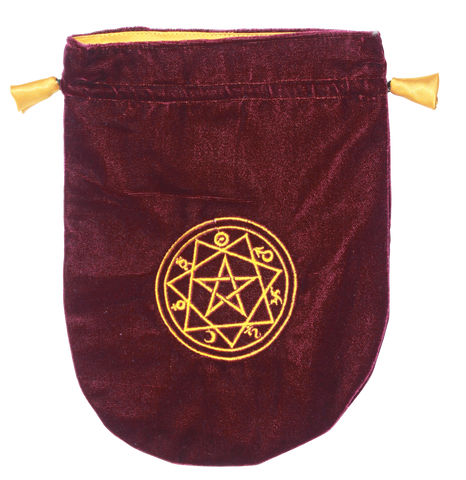 VTB08 - Burgundy Velvet Sigilum Circle Tarot Bag (Tarot Bags) at Enchanted Jewelry & Gifts