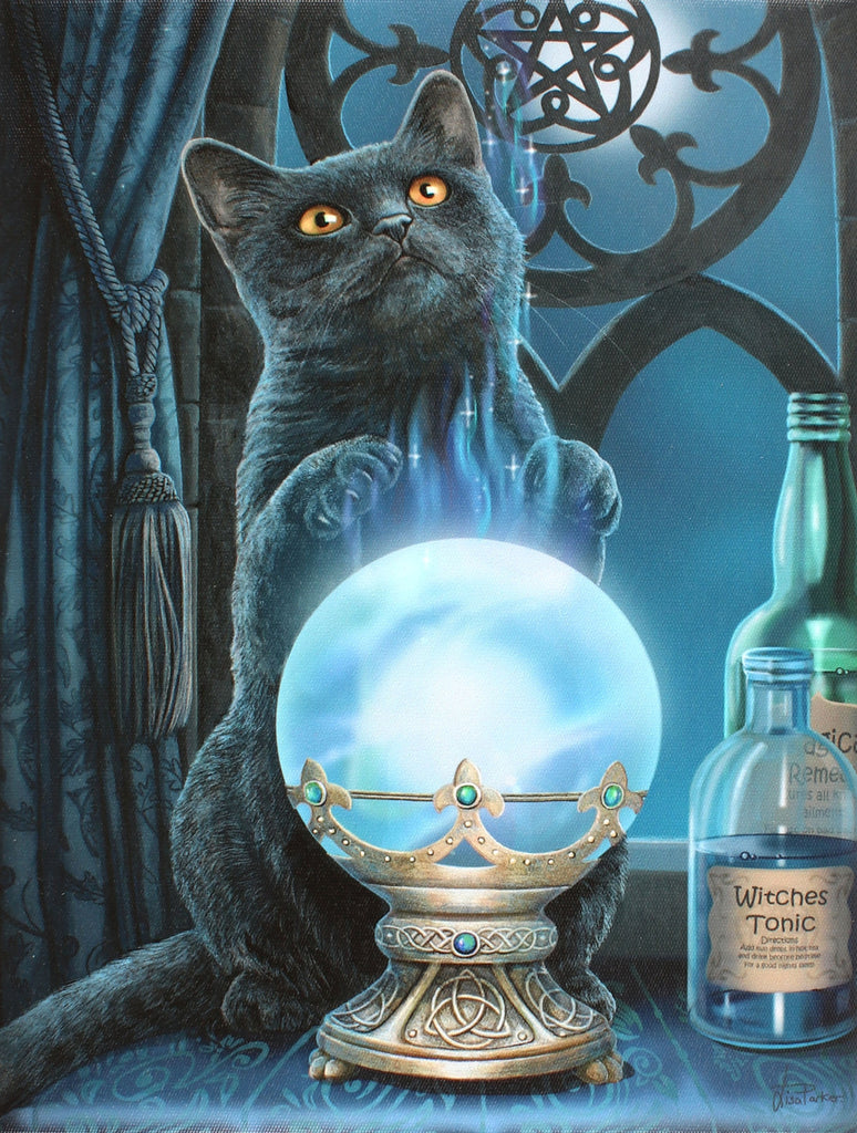 WP070LP-Witches Apprentice Cat Canvas Print by Lisa Parker (Canvas Art Prints) at Enchanted Jewelry & Gifts
