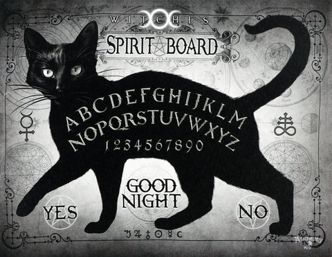 Black Cat Witches Spirit Board Canvas Print by Alchemy Gothic of England