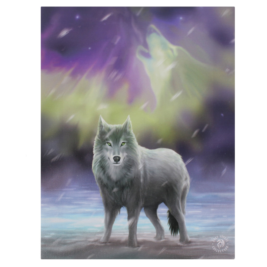 WP300AS-Aura Wolf Canvas Art Print by Anne Stokes Canvas Art Prints at Enchanted Jewelry & Gifts