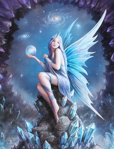WP333AS-Star Gazer Blue Crystal Fairy Canvas Art Print by Anne Stokes Canvas Art Prints at Enchanted Jewelry & Gifts