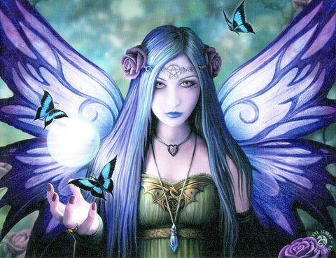 WP336AS-Mystic Aura Purple Butterfly Fairy Canvas Art Print by Anne Stokes Canvas Art Prints at Enchanted Jewelry & Gifts