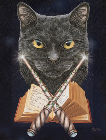 WP462LP-Magick Maker Divination Black Cat Canvas Art Print by Lisa Parker Canvas Art Prints at Enchanted Jewelry & Gifts