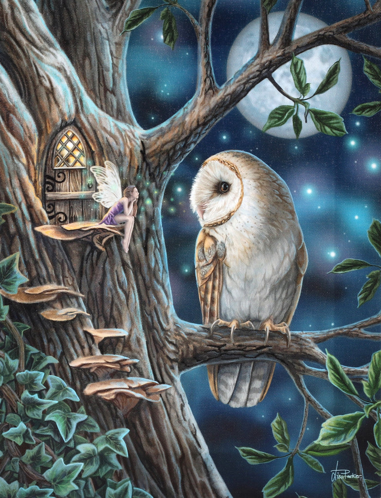 WP463LP-Fairy Tales Barn Owl Canvas Art Print by Lisa Parker Canvas Art Prints at Enchanted Jewelry & Gifts