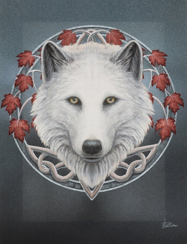 WP464LP-Guardian of the Fall White Wolf Canvas Art Print by Lisa Parker Canvas Art Prints at Enchanted Jewelry & Gifts