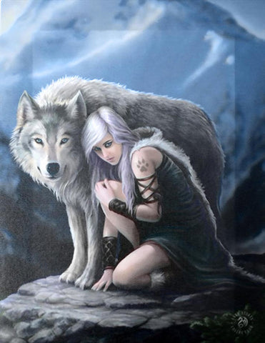 WP552AS-Protector Canvas Art Print by Anne Stokes-Canvas Art Prints-Enchanted Jewelry & Gifts