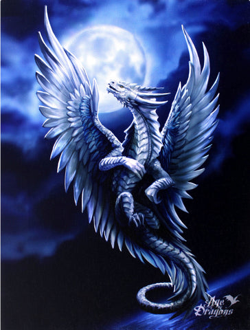 WP659AS-Silver Dragon Canvas Print by Anne Stokes-Canvas Art Prints-Enchanted Jewelry & Gifts