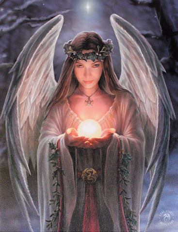 WP753AS-Yule Angel Canvas Art Print by Anne Stokes Canvas Art Prints at Enchanted Jewelry & Gifts
