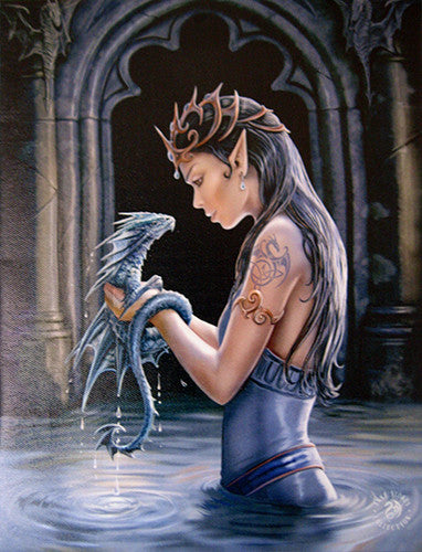 WP754AS-Water Dragon Canvas Art Print by Anne Stokes-Canvas Art Prints-Enchanted Jewelry & Gifts
