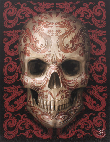 Oriental Skull Canvas Print By Anne Stokes