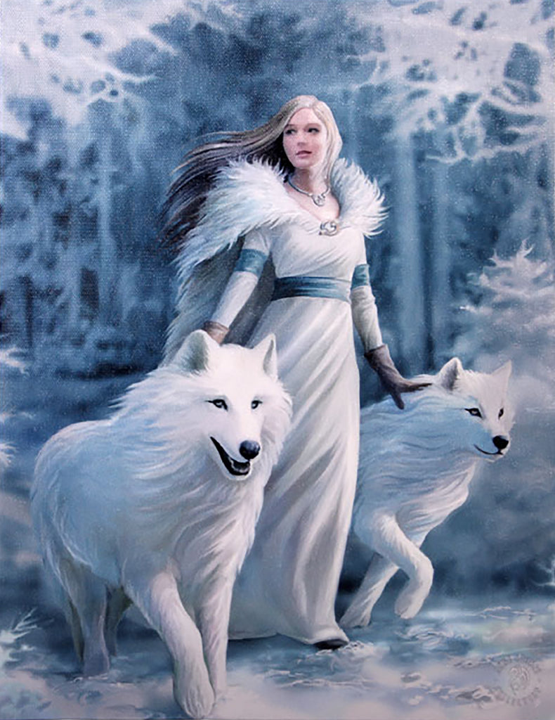 WP556AS-Winter Guardian Canvas Print By Anne Stokes Canvas Art Prints at Enchanted Jewelry & Gifts