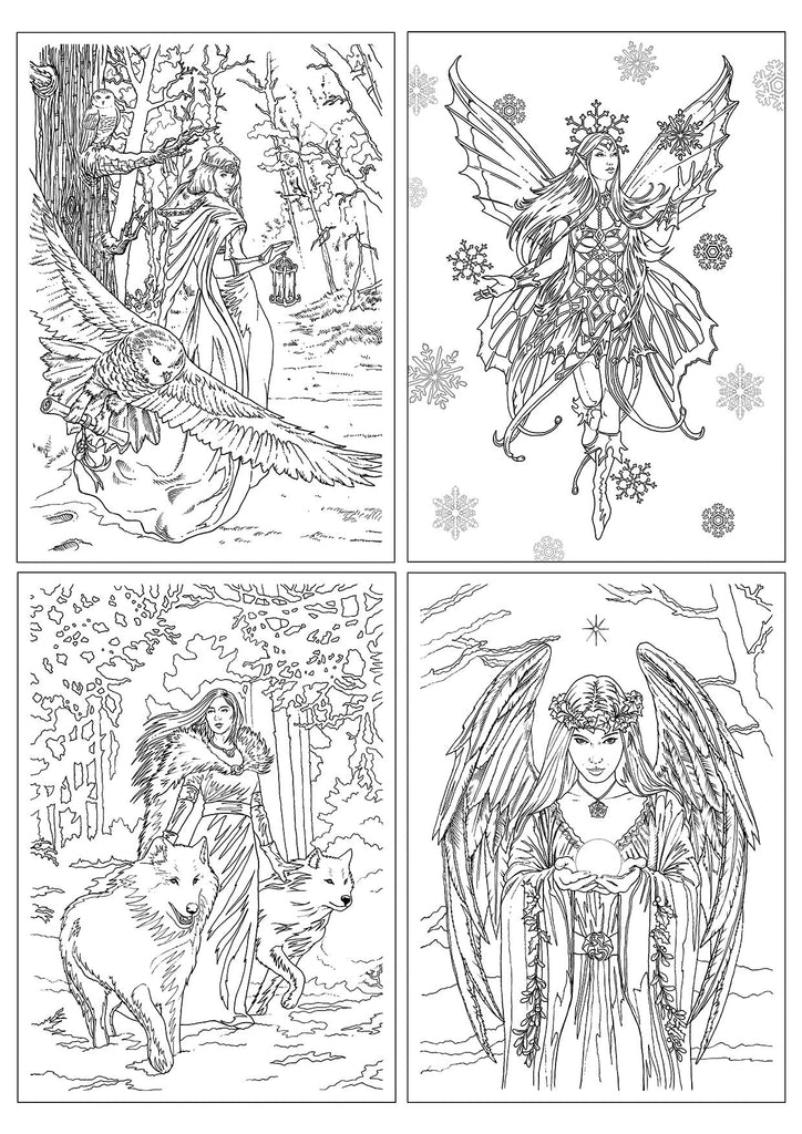 (Product Code: ASC2) Winter Fantasy Color-In Card 4 Pack, Anne Stokes Coloring Cards - EnchantedJewelry - 1