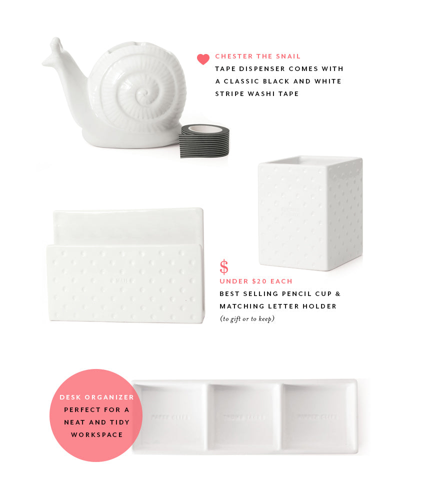 stylish ceramic desk accessories for home or office