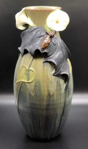 Ephraim Pottery Vase with Bat & Moon Flower