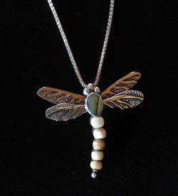 Fossilized Ivory: Dragonfly Pendant