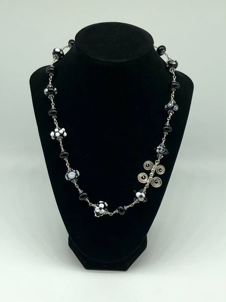 Handcrafted Glass Bead and Sterling Silver Necklace