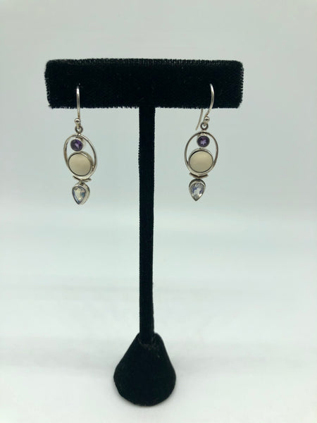 Mastodon ivory, Amethyst, Moonstone and Sterling Silver Earrings