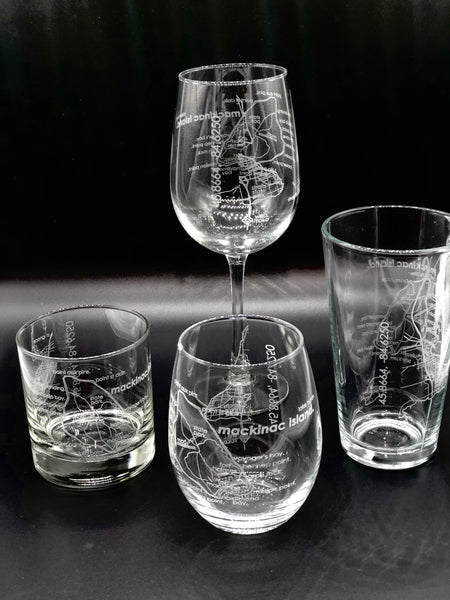 Mackinac Island Map Wine Glass