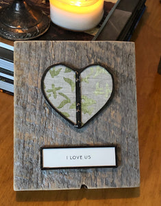 """I LOVE US"" wall hanging"